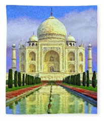 Taj Mahal Morning Fleece Blanket