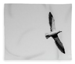 Take Flight, Black And White Fleece Blanket