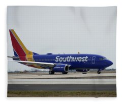 Take Off Southwest Airlines N7878a Hartsfield-jackson Atlanta International Airport Art Fleece Blanket