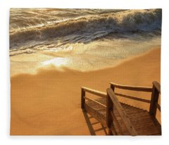 Take The Stairs To The Waves Fleece Blanket