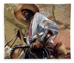Tall In The Saddle Cowboy Pride 1a Fleece Blanket