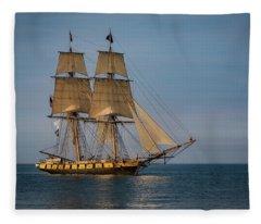 Tall Ship U.s. Brig Niagara Fleece Blanket