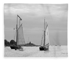 Tall Ships Sailing I In Black And White Fleece Blanket