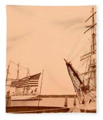 Tall Ships Sepia Tone Fleece Blanket