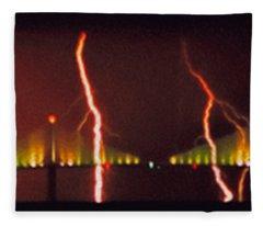 Tampa Bay Lightning Over The Skyway Bridge Fleece Blanket
