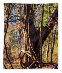Tangled Vines On Tree Fleece Blanket