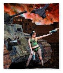 Tank Girl In Action Fleece Blanket