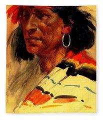 Taos Pueblo Indian Circa 1918 Fleece Blanket