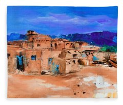 Taos Pueblo Village Fleece Blanket