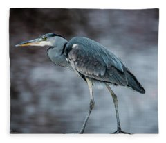 Target Oriented Grey Heron In Profile Fleece Blanket