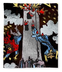 Tarot Gold Edition - Major Arcana - The Tower Fleece Blanket