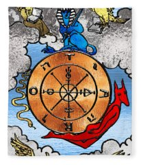 Tarot Gold Edition - Major Arcana - Wheel Of Fortune Fleece Blanket