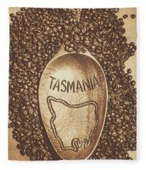Tasmania Coffee Beans Fleece Blanket