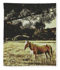 Tasmanian Rural Farm Horse Fleece Blanket