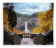 Taughannock In Autumn Fleece Blanket