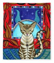 Taurus Cat Zodiac Fleece Blanket