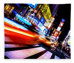 Taxis In Times Square Fleece Blanket