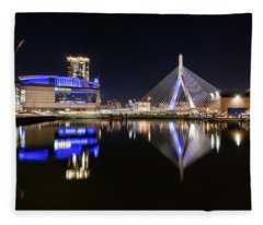 Td Garden And The Zakim Bridge At Night Fleece Blanket