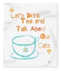 Tea And Cats Square Fleece Blanket