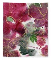 Tea Cup Roses- Art By Linda Woods Fleece Blanket