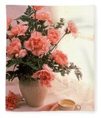 Tea Cup With Pink Carnations Fleece Blanket