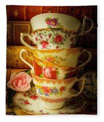 Tea Cups And Antique Books Fleece Blanket