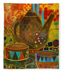 Tea Party With Klimt Fleece Blanket