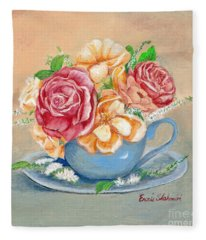 Tea Roses Fleece Blanket