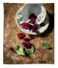 Teacup And Red Rose Petals Fleece Blanket
