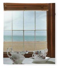 Teacups In The Window Fleece Blanket