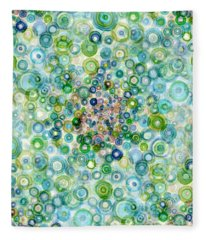Teal And Olive Concavity Fleece Blanket