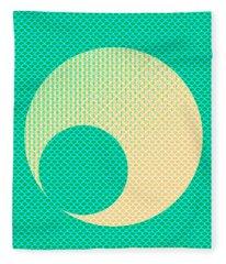 Teal And Yellow Semi Circle Fleece Blanket