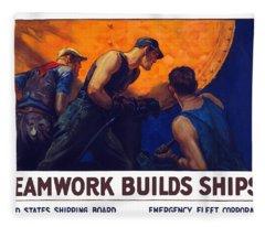 Teamwork Builds Ships Fleece Blanket