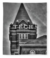 Tech B W Georgia Institute Of Technology Atlanta Georgia Art Fleece Blanket