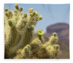 Teddy Bear Cholla Cactus With Flower Fleece Blanket