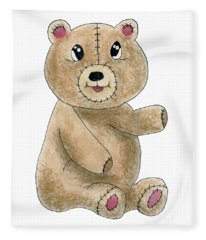 Teddy Bear Watercolor Painting Fleece Blanket