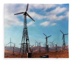 Tehachapi Windmills Fleece Blanket