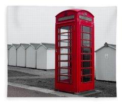 Telephone Box By The Sea I Fleece Blanket