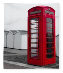 Telephone Box By The Sea I Fleece Blanket