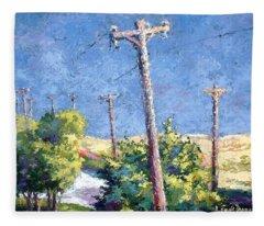 Telephone Poles Before The Rain Fleece Blanket