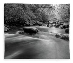 Tellico Waters In Black And White Fleece Blanket