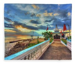Temple In The Sea Fleece Blanket