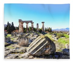 Temple Of Apollo In Ancient Corinth Fleece Blanket