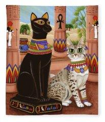 Temple Of Bastet - Bast Goddess Cat Fleece Blanket