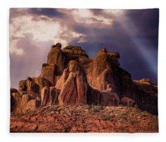 Temple Of Red Stone Fleece Blanket