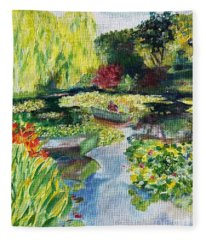 Tending The Pond Fleece Blanket