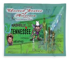 Tennessee Fun Map Fleece Blanket