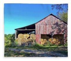Tennessee Hay Barn Fleece Blanket