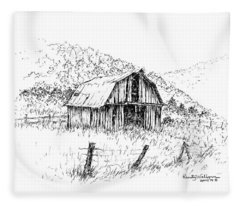 Tennessee Hills With Barn Fleece Blanket