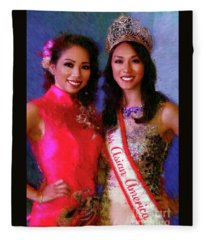 Teresa Hoang And Miss Asian America 2016 Jessica Lim Fleece Blanket
